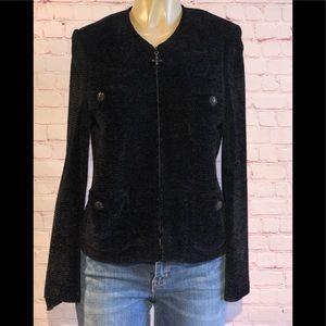 Black Saint John collection zip up cardigan